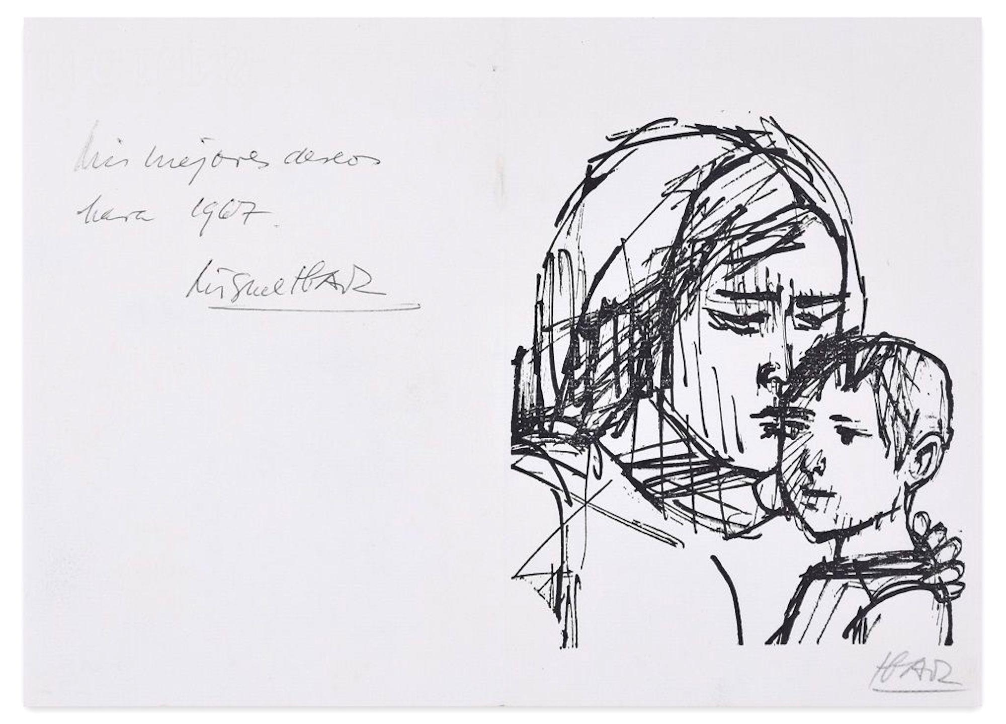 Mis Mejores Deseos  - Original Lithograph by Miguel Ibarz - 1967