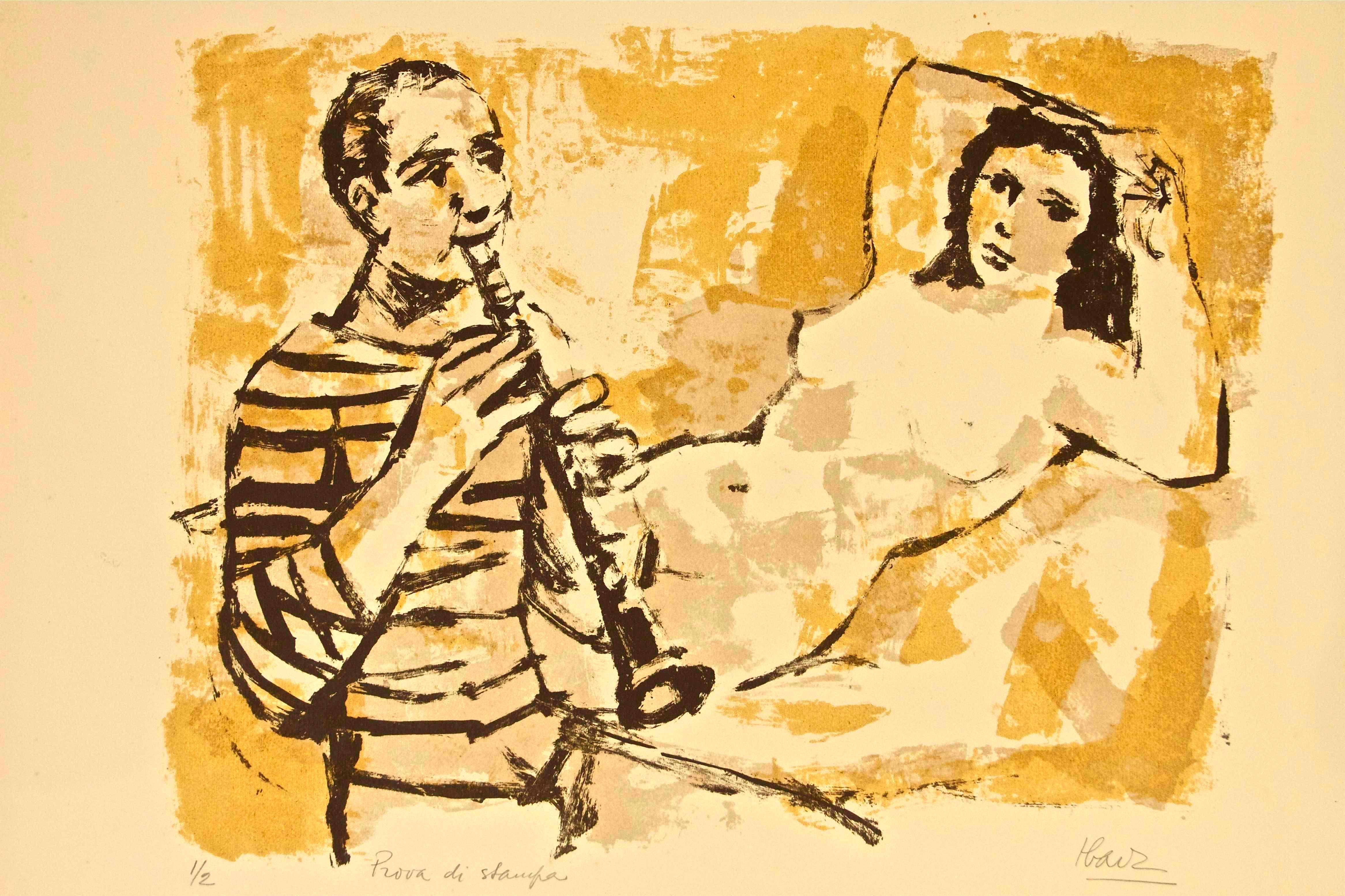Model with Musician - Original Lithograph by Miguel Ibarz - Late 1900