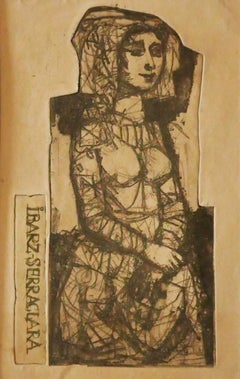 The Girl - Original Etching by Miguel Ibarz - 1960s