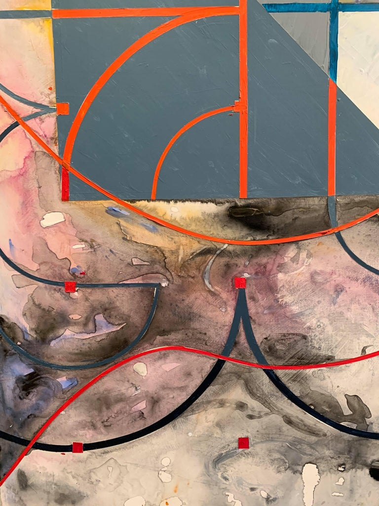 Oil on Panel -- Plaza Shift I - Brown Abstract Painting by Miguel Martinez- Riddle