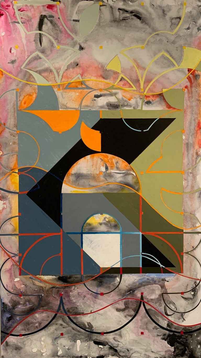 Miguel Martinez- Riddle Abstract Painting - Oil on Panel -- Plaza Shift I