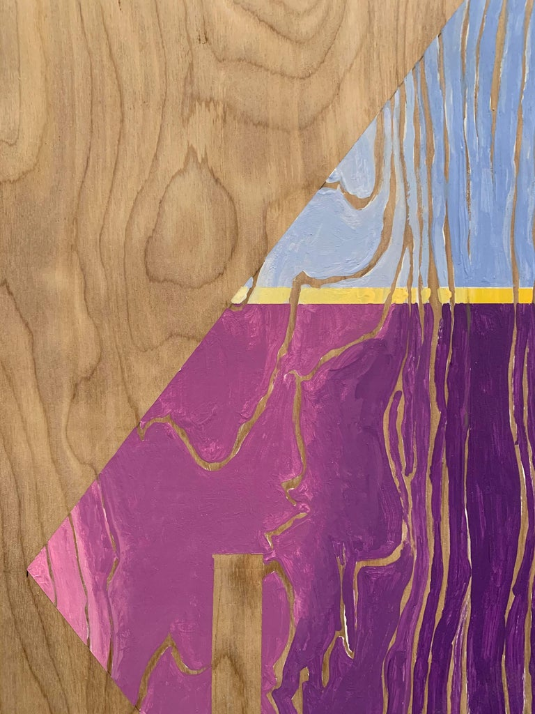 Arrows in traffic are an indication of a variety of instructions, from hazard to direction control. This painted arrow on wood presents an icon we are familiar with, but does so in an almost cheerful way with the use colors such as violet and light