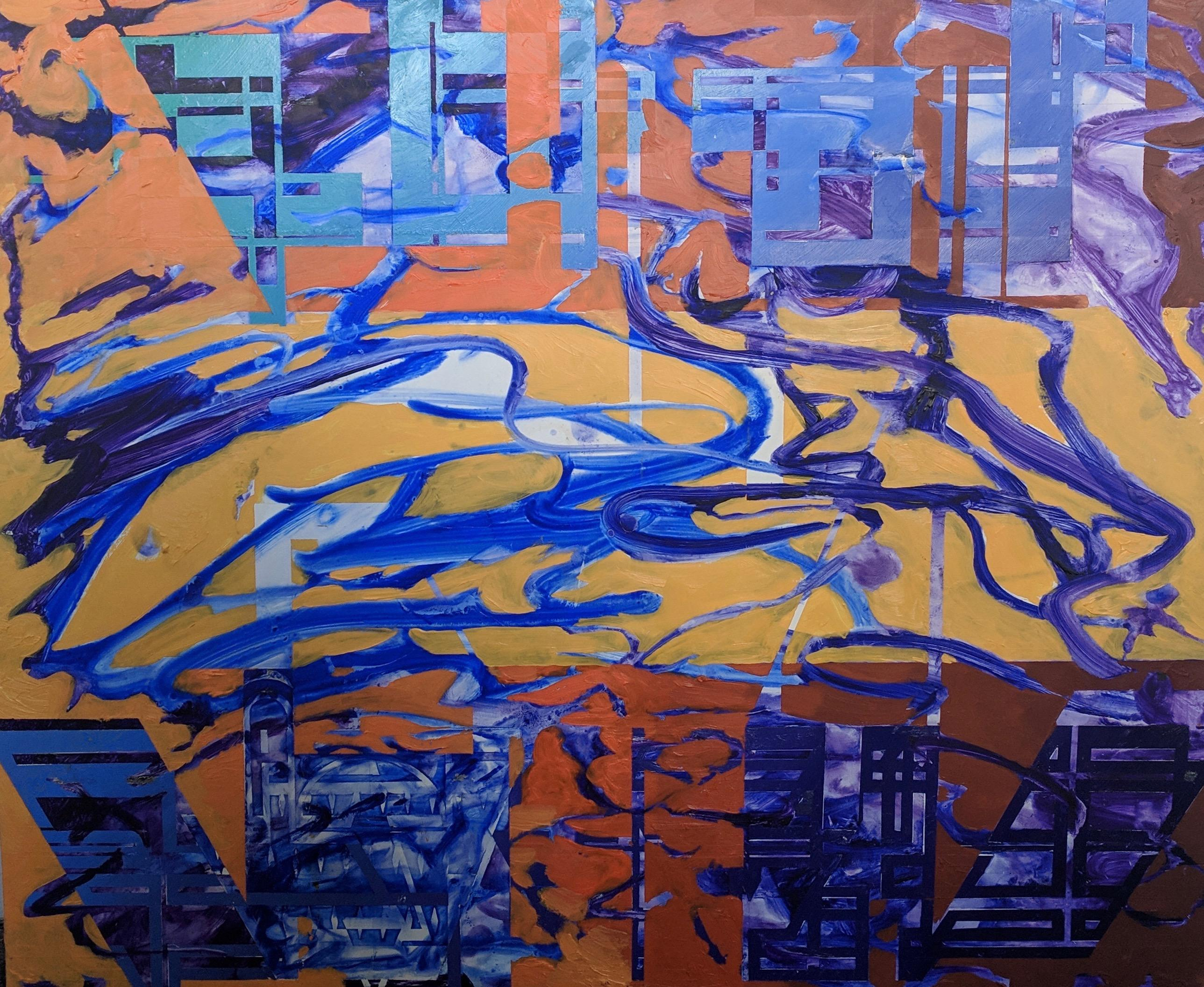 Abstract Oil Painting onBoard -- Plaza Shark Bait