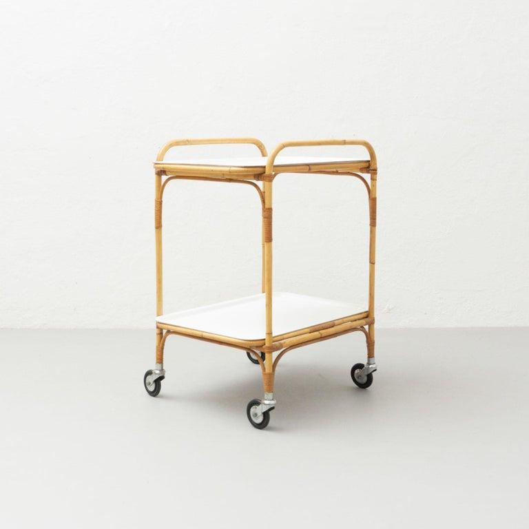 Mid-Century Modern Miguel Milà Manila Bamboo Trolley, circa 1960 For Sale