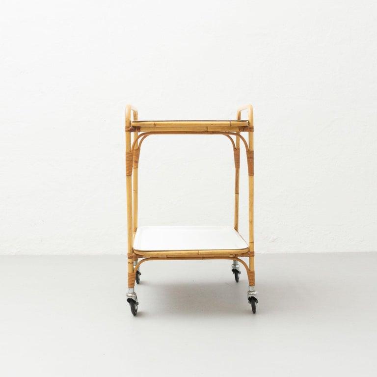 Spanish Miguel Milà Manila Bamboo Trolley, circa 1960 For Sale