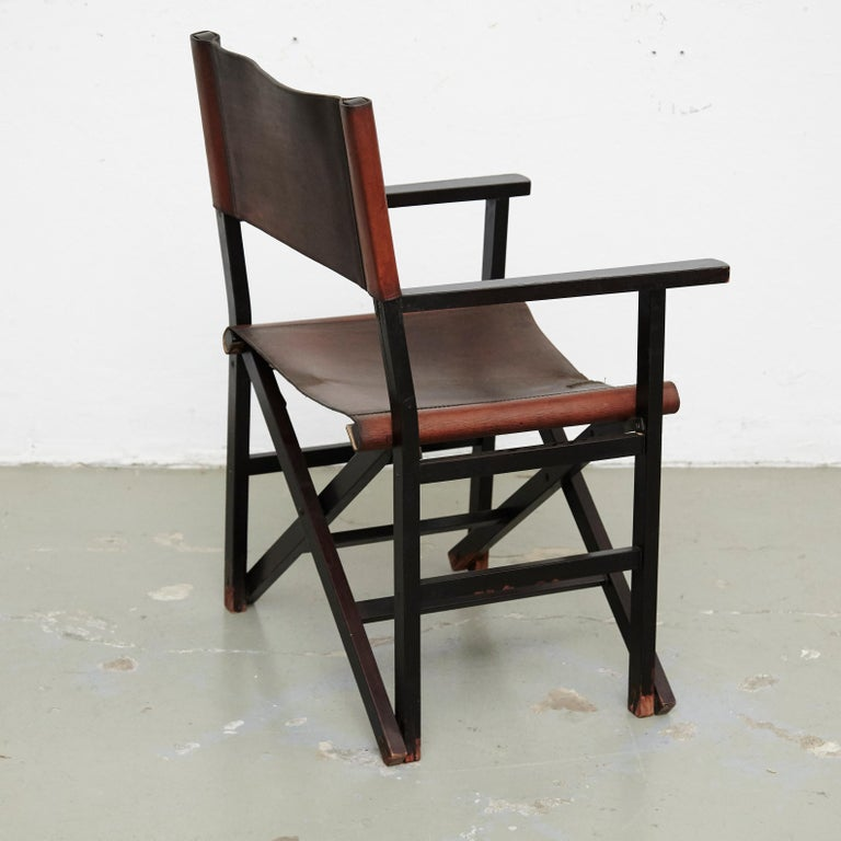 Miguel Mila Set of 4 Leather Folding Chairs by Gres Edition, circa 1960 For Sale 5