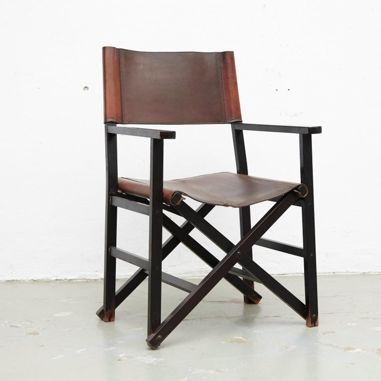 Miguel Mila Set of 4 Leather Folding Chairs by Gres Edition, circa 1960 For Sale 10