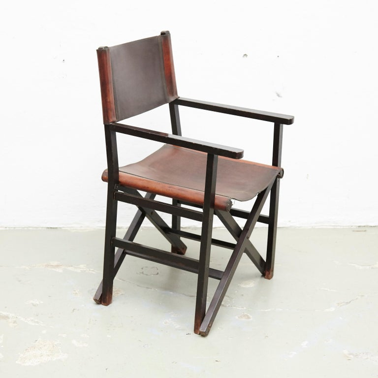 Miguel Mila Set of 4 Leather Folding Chairs by Gres Edition, circa 1960 For Sale 14