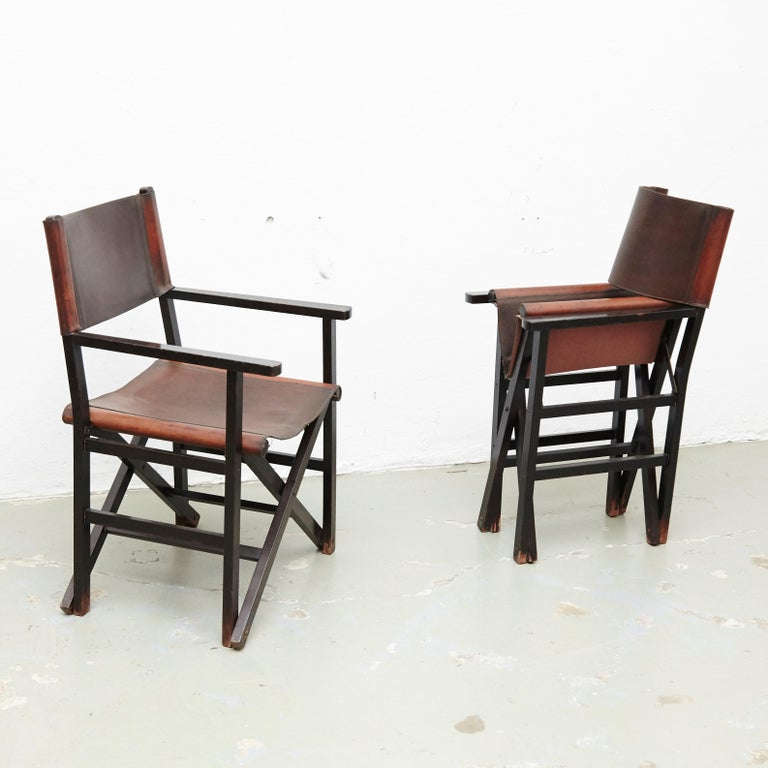 Mid-Century Modern Miguel Mila Set of 4 Leather Folding Chairs by Gres Edition, circa 1960 For Sale