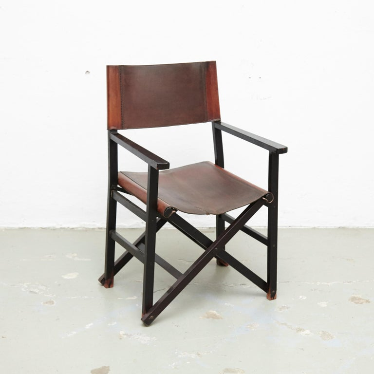 Spanish Miguel Mila Set of 4 Leather Folding Chairs by Gres Edition, circa 1960 For Sale