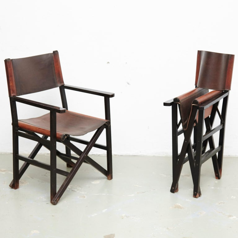 Miguel Mila Set of 4 Leather Folding Chairs by Gres Edition, circa 1960 In Good Condition For Sale In Barcelona, Barcelona
