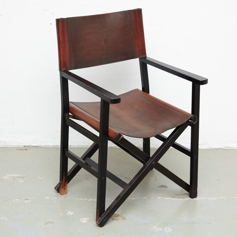 Miguel Mila Set of 4 Leather Folding Chairs by Gres Edition, circa 1960 For Sale 2