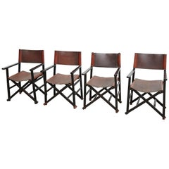 Miguel Mila Set of 4 Leather Folding Chairs by Gres Edition, circa 1960