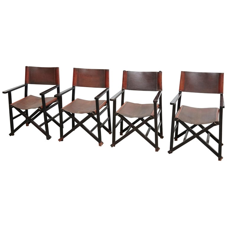 Miguel Mila Set of 4 Leather Folding Chairs by Gres Edition, circa 1960 For Sale