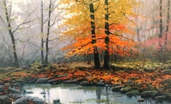 Contemporary detailed landscape painting 'Misty Woodlands' by Miguel Peidro