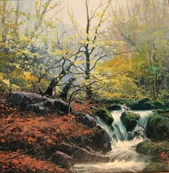 Contemporary Landscape Painting of a Forest 'Secret Waterfall' by Miguel Piedro