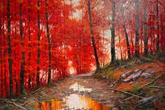 'Pathway though the Red Forest' landscape painting with red trees water and path