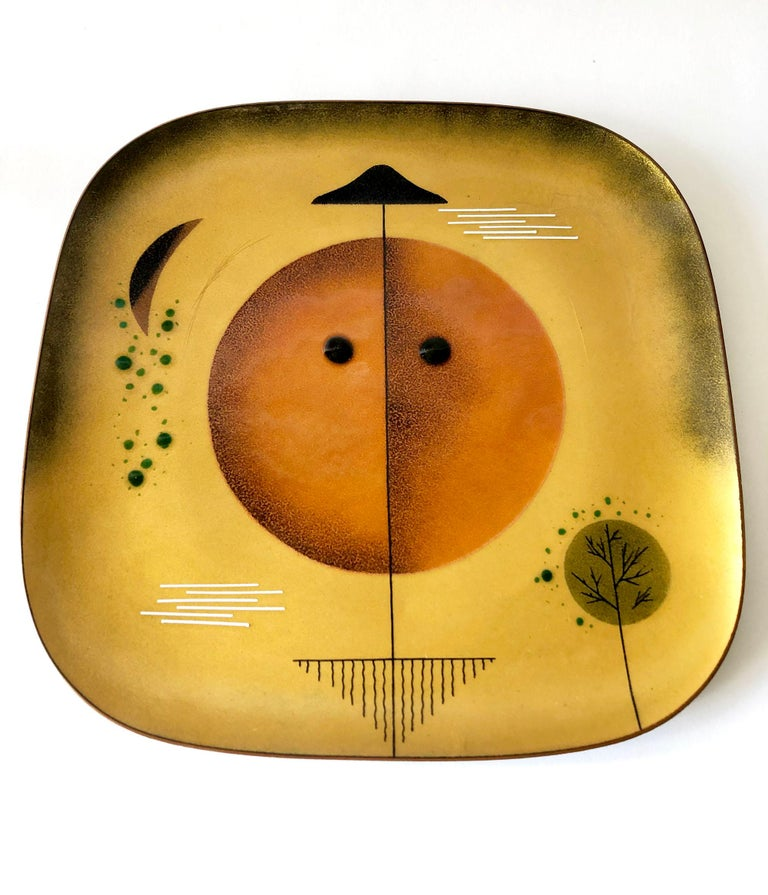 Mexican modernist copper enamel plate created by Miguel Pineda of Mexico City, Mexico. Piece measures 10.75