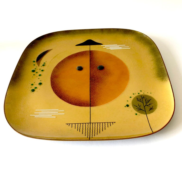 Mid-Century Modern Miguel Pineda Copper Enamel Mexican Modern Abstract Plate Charger For Sale