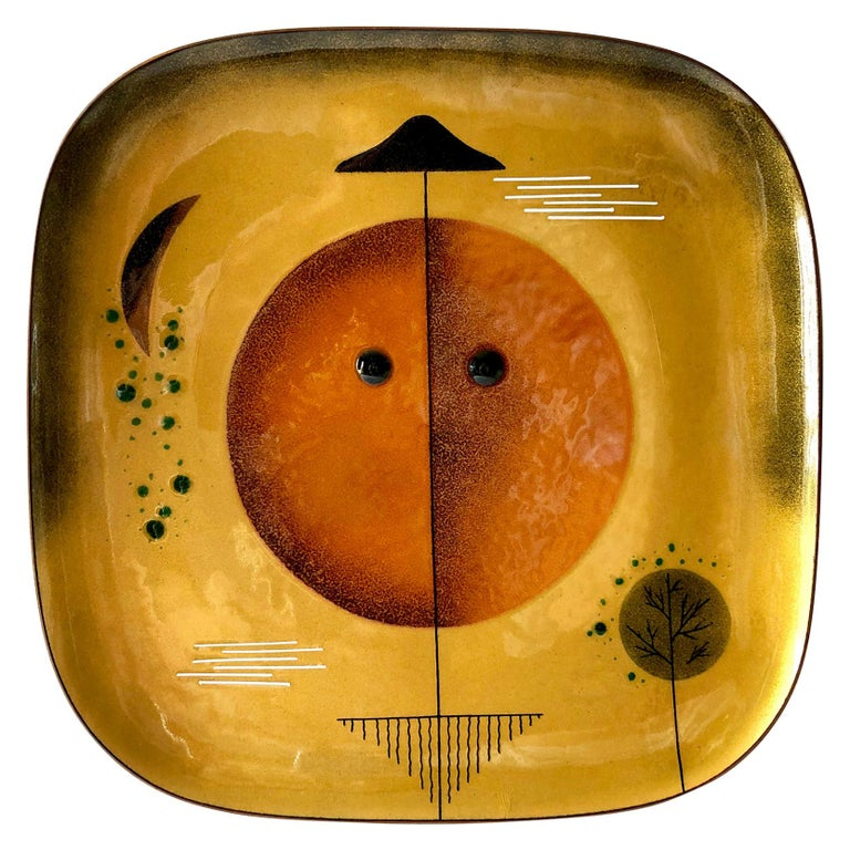 Miguel Pineda Copper Enamel Mexican Modern Abstract Plate Charger For Sale