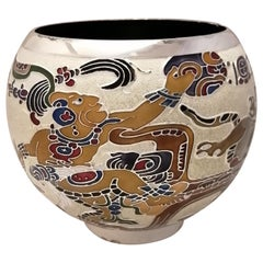 Miguel Pineda Mexican MCM Enameled Silverplate Vase with Prehispanic Scene