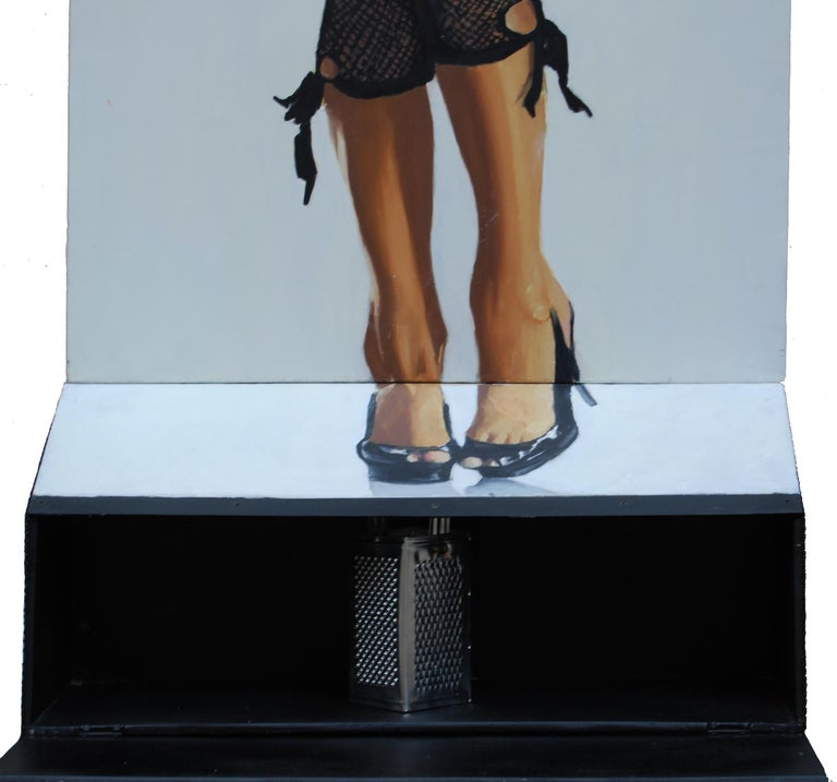 Useful Object Slice - Figurative Painting, Photorealist, Woman, Pop Art, Black For Sale 1