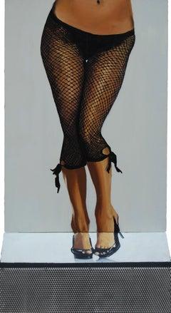Useful Object Slice - Figurative Painting, Photorealist, Woman, Pop Art, Black