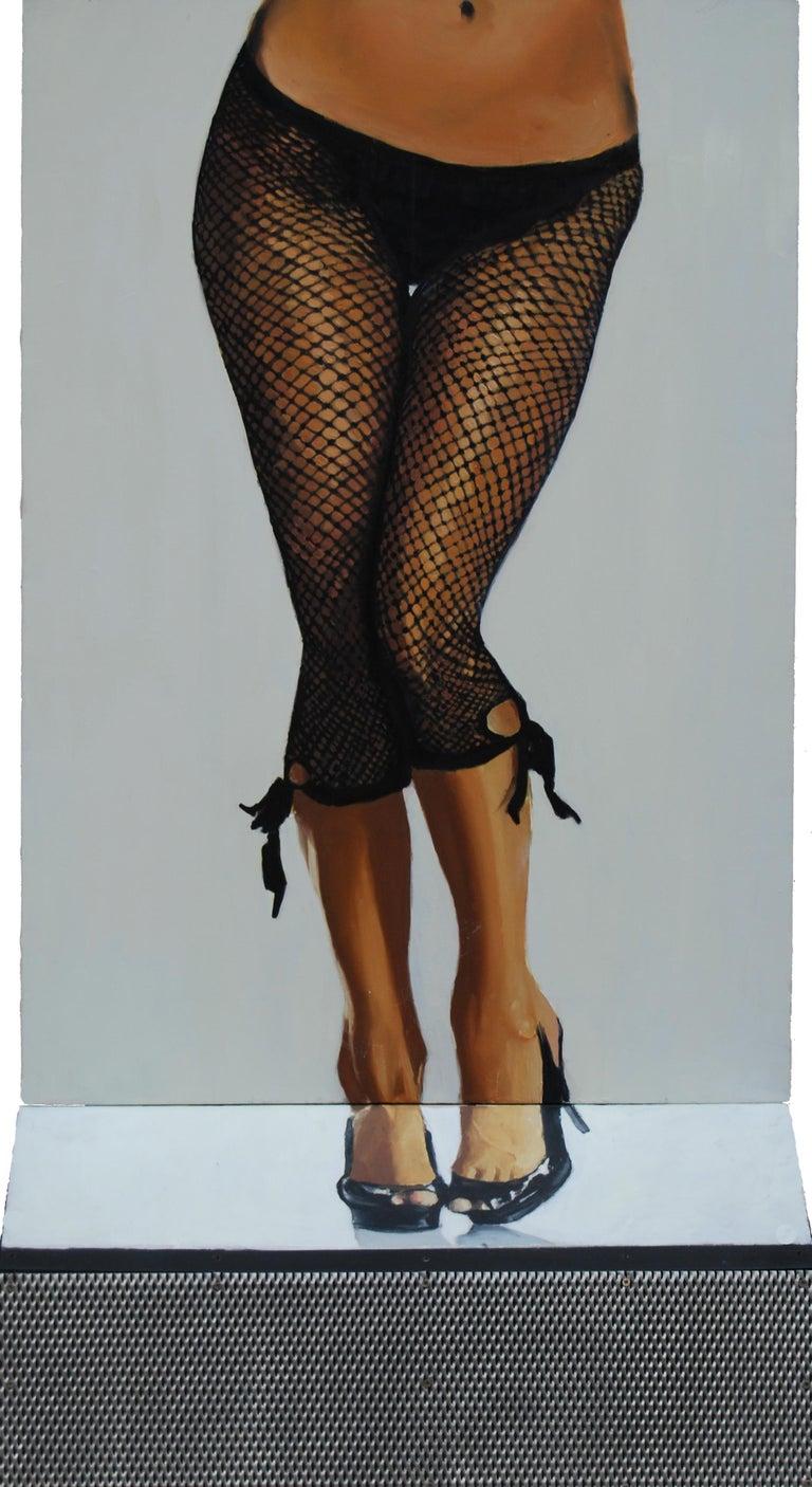 Useful Object Slice - Figurative Painting, Photorealist, Woman, Pop Art, Black - Mixed Media Art by Mihai Florea
