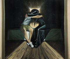 The Emotional Reunion - Contemporary, Dream, Blue, Black, Hug, Affection