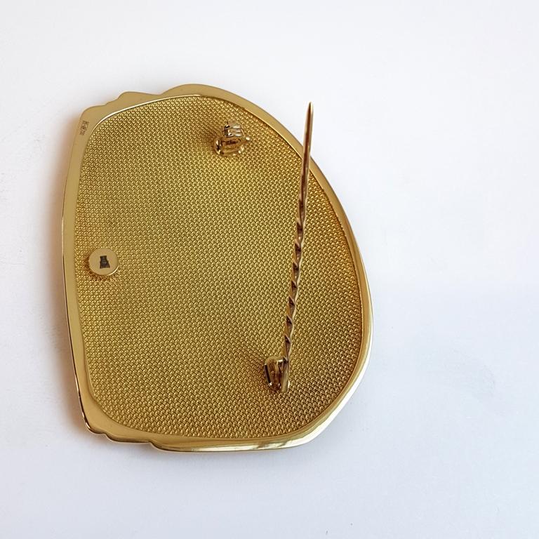 Artist Mihail Chemiakin 18 Karat Yellow Gold Enamel Brooch For Sale