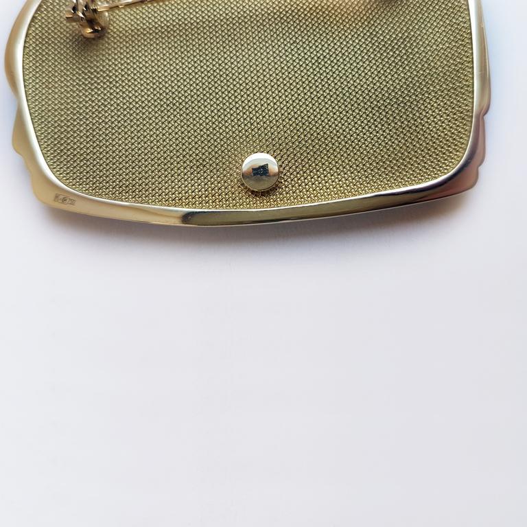 Mihail Chemiakin 18 Karat Yellow Gold Enamel Brooch In New Condition For Sale In Baden-Baden, DE