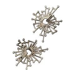 Mihail Chemiakin Diamond 18 Karat Yellow Gold Earrings
