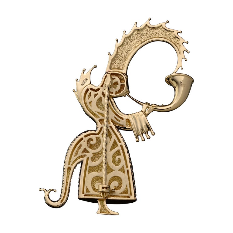 Brooch Monk designed and manufactured by the Sasonko Jewellery House based on Mihail Chemiakin's image Cold colorful enamel 18 karat yellow gold To achieve any goal, you require both courage and patience. Characters in the ballet The Magic Nut are