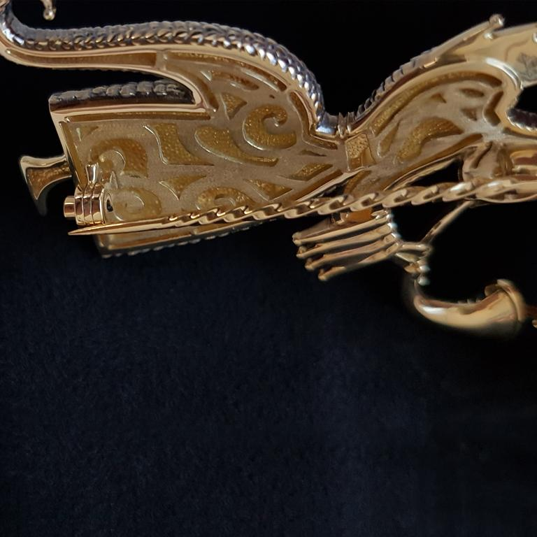 Artist Mihail Chemiakin Enamel 18 Karat Yellow Gold Brooch For Sale