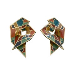 Mihail Chemiakin Enamel 18 Karat Yellow Gold Earrings