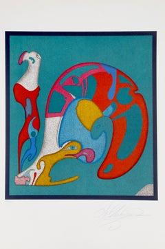 """""""Escargot"""", Surreal Lithograph by Mihail Chemiakin"""