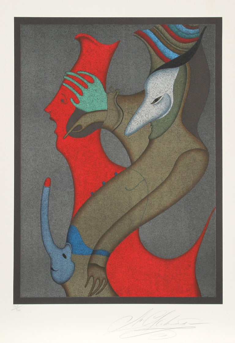 Artist: Mihail Chemiakin, Russian (1943 - )  Title: Untitled II from Carnival of St. Petersburg Suite Year: Circa 1980 Medium: Lithograph, signed and numbered in pencil Edition: 300 Image Size: 20 x 17.5 inches Size: 30 x 21 in. (76.2 x 53.34 cm)