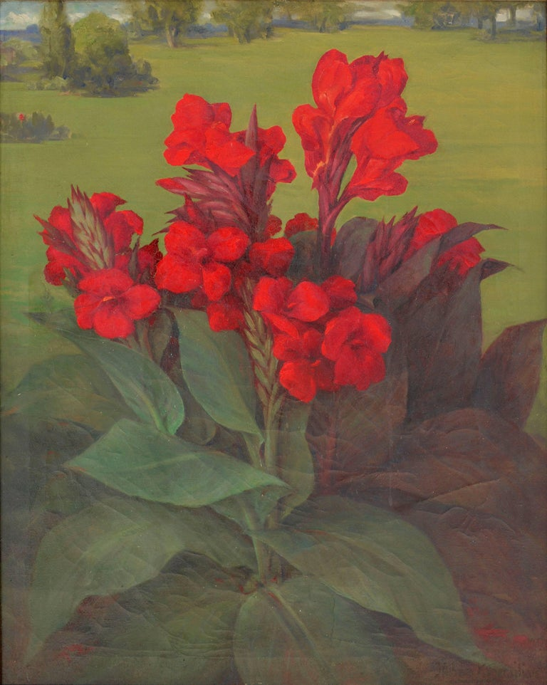 Red Canna Lilies  - Painting by Mihran K. Serailian
