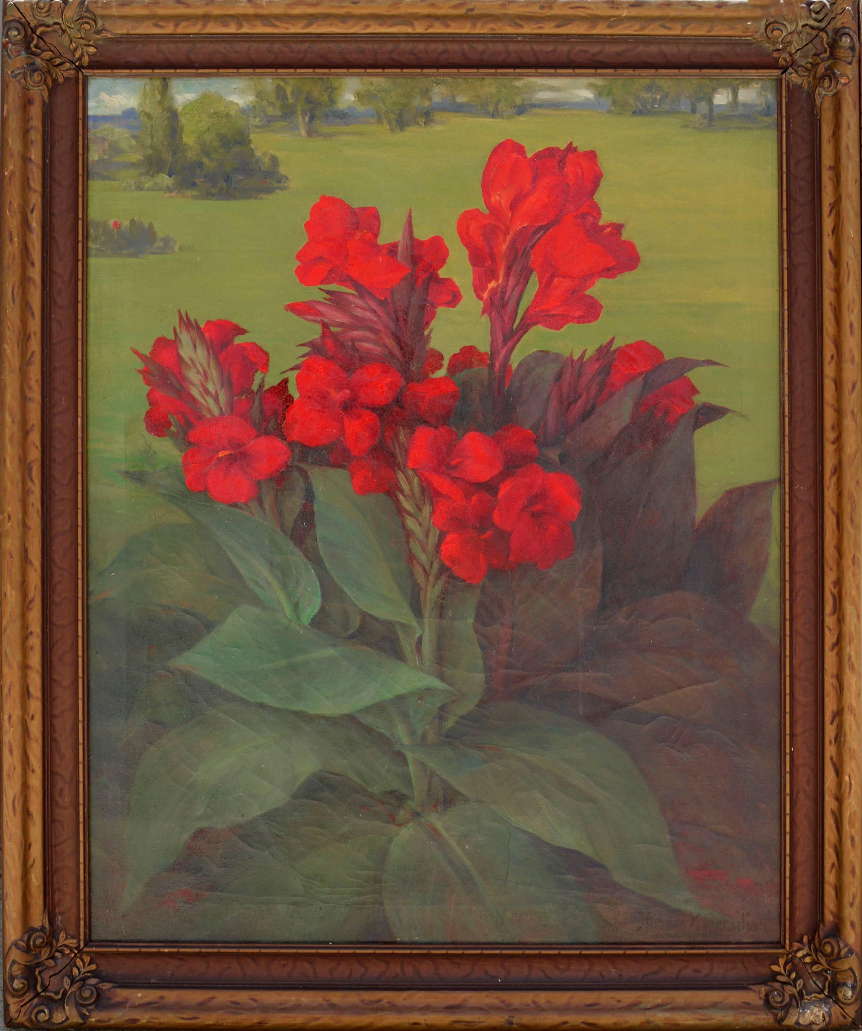 Mid Century Garden Landscape with Red Canna Lilies