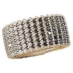 Miiori 3.40 Carat Black and 2.90 Carat White Diamond 18 Karat Gold Flash Ring