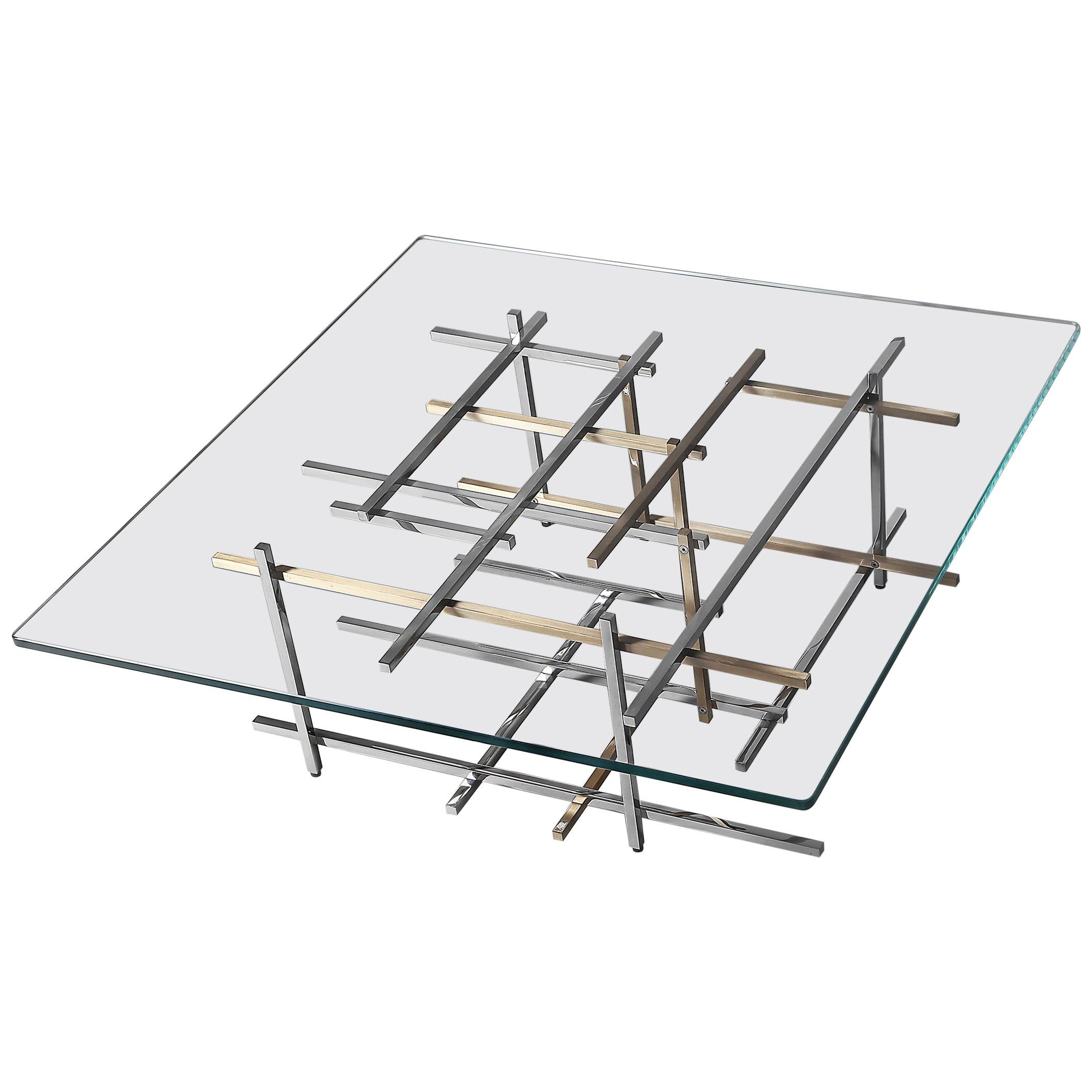 Mikado, Coffee Table in Hand Polished Stainless Steel, Brushed Brass and Glass