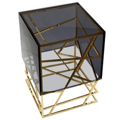 """Mikado"" Contemporary Cocktail Center or Side Table Smoked Glass, Polished Brass"