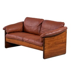 Mikael Laursen 2-Seat Solid Teak Danish Loveseat Sofa Original Cognac Leather