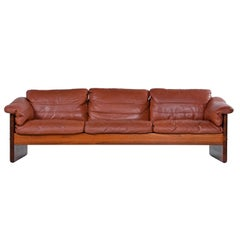 Mikael Laursen 3-Seat Solid Teak Danish Sofa Couch Original Cognac Leather