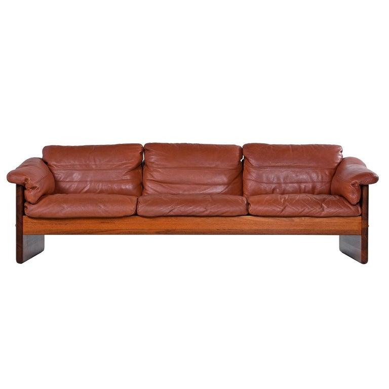 Mikael Laursen 3-Seat Solid Teak Danish Sofa Couch Original Cognac Leather