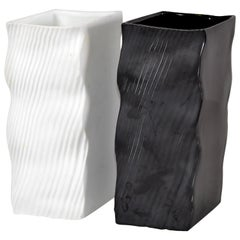 Mikasa Japan Ceramic Black and White Vases Wave Mid-Century Modern, Set of 2