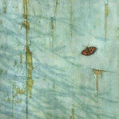 Butterfly - photorealistic oil painting of a butterfly on the blue decaying door
