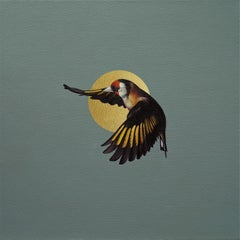 Helios - contemporary realistic mythology sun flying bird oil painting
