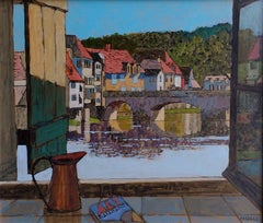 Bridge at Argenton - river French landscape bridge view window acrylic board