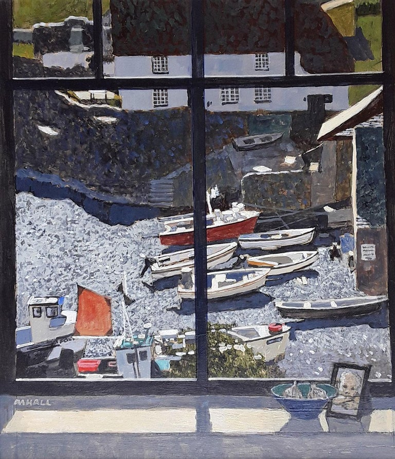 Mike Hall Landscape Painting - Cadgwith Harbour - seascape harbour view boats bright light window acrylic